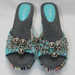 Passions Platform Turquoise & Stripe Shoes